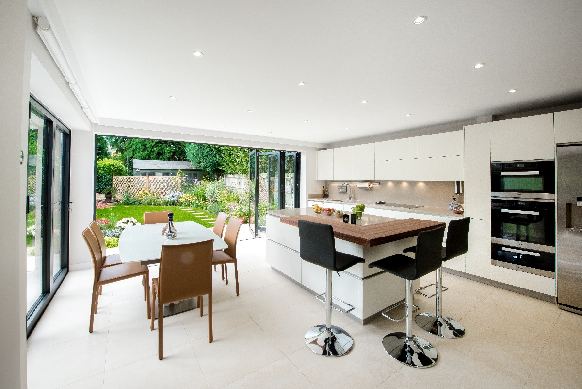 Leatherhead double storey extension sliding folding doors