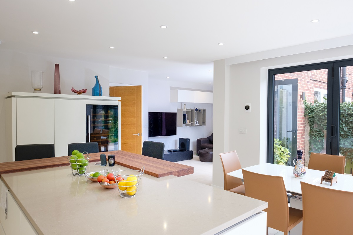 Leatherhead double storey extension open plan kitchen and dining area